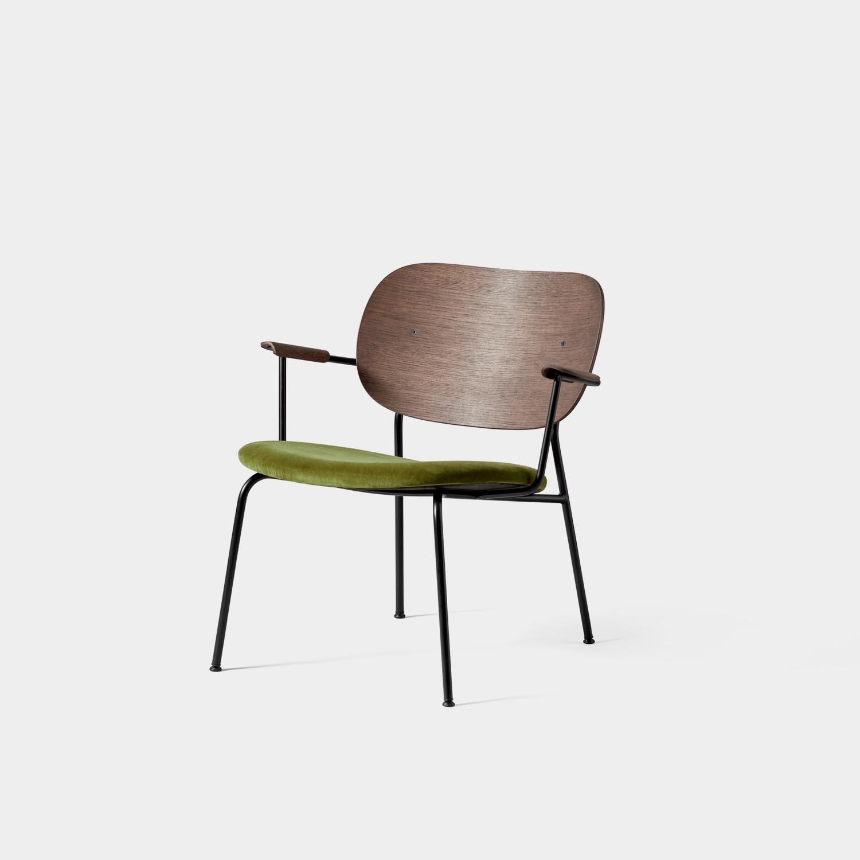 Co Lounge Chair, Dark Oak, Green Velvet