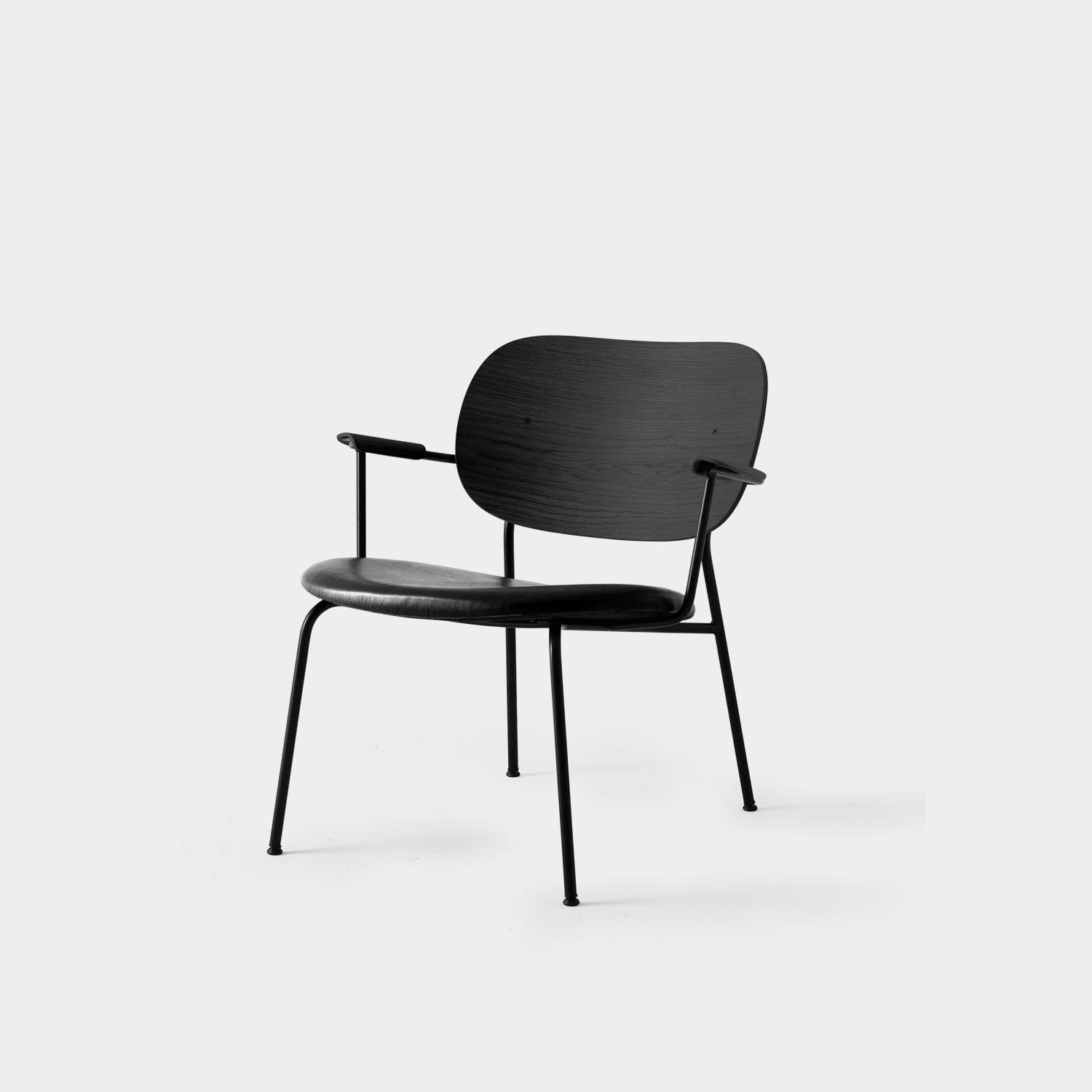 Co Lounge Chair, Black Oak, Black Leather