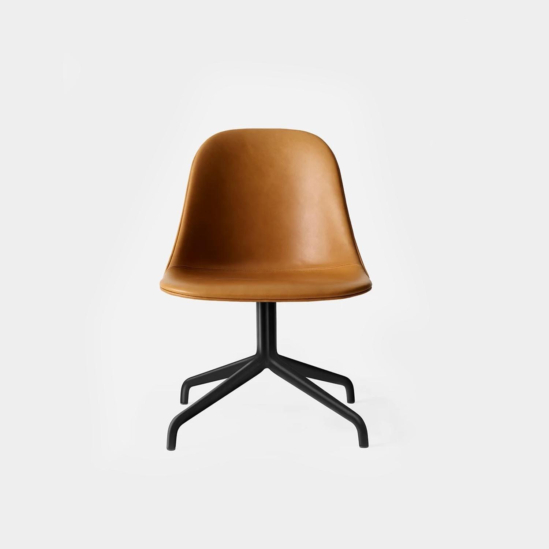Harbour Side Chair, Black Swivel Base, Cognac Leather