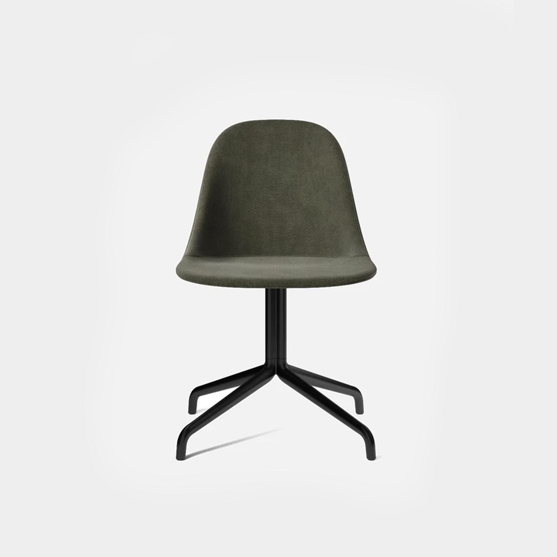 Harbour Side Chair, Black Swivel Base, Green Wool