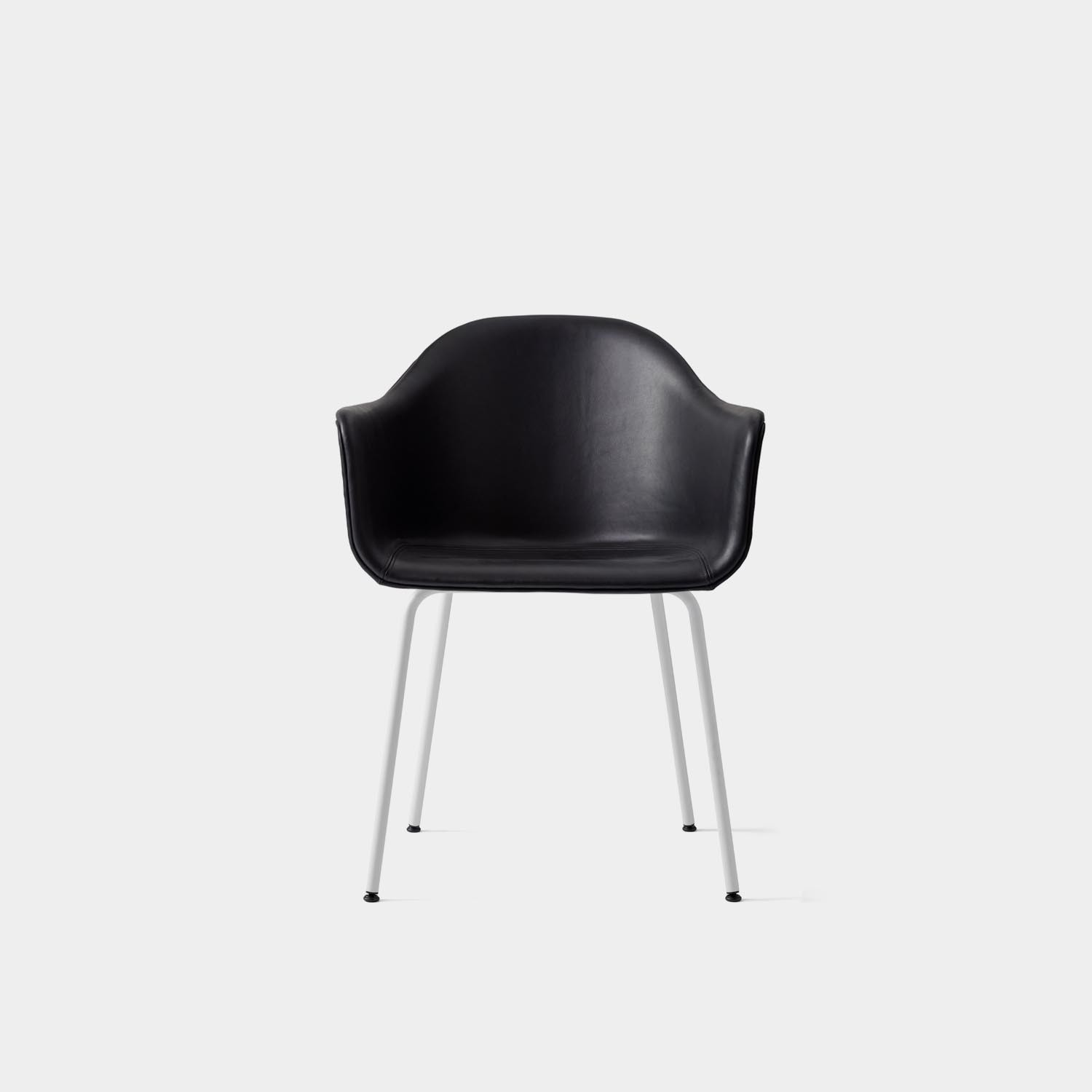 Chair Harbour, White Base, Black Leather