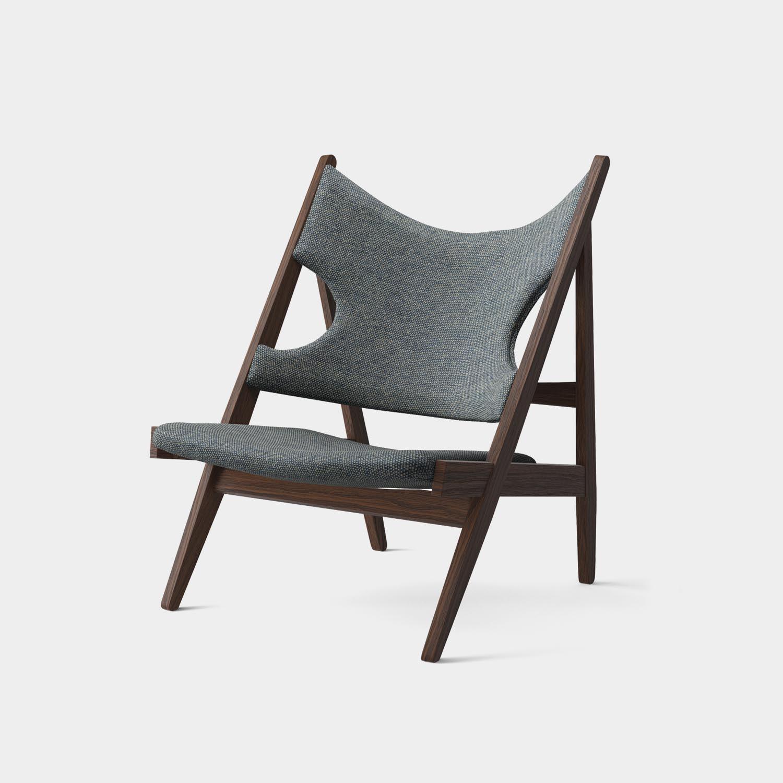 Knitting Lounge Chair, Dark Oak, Blue Gray Upholstery