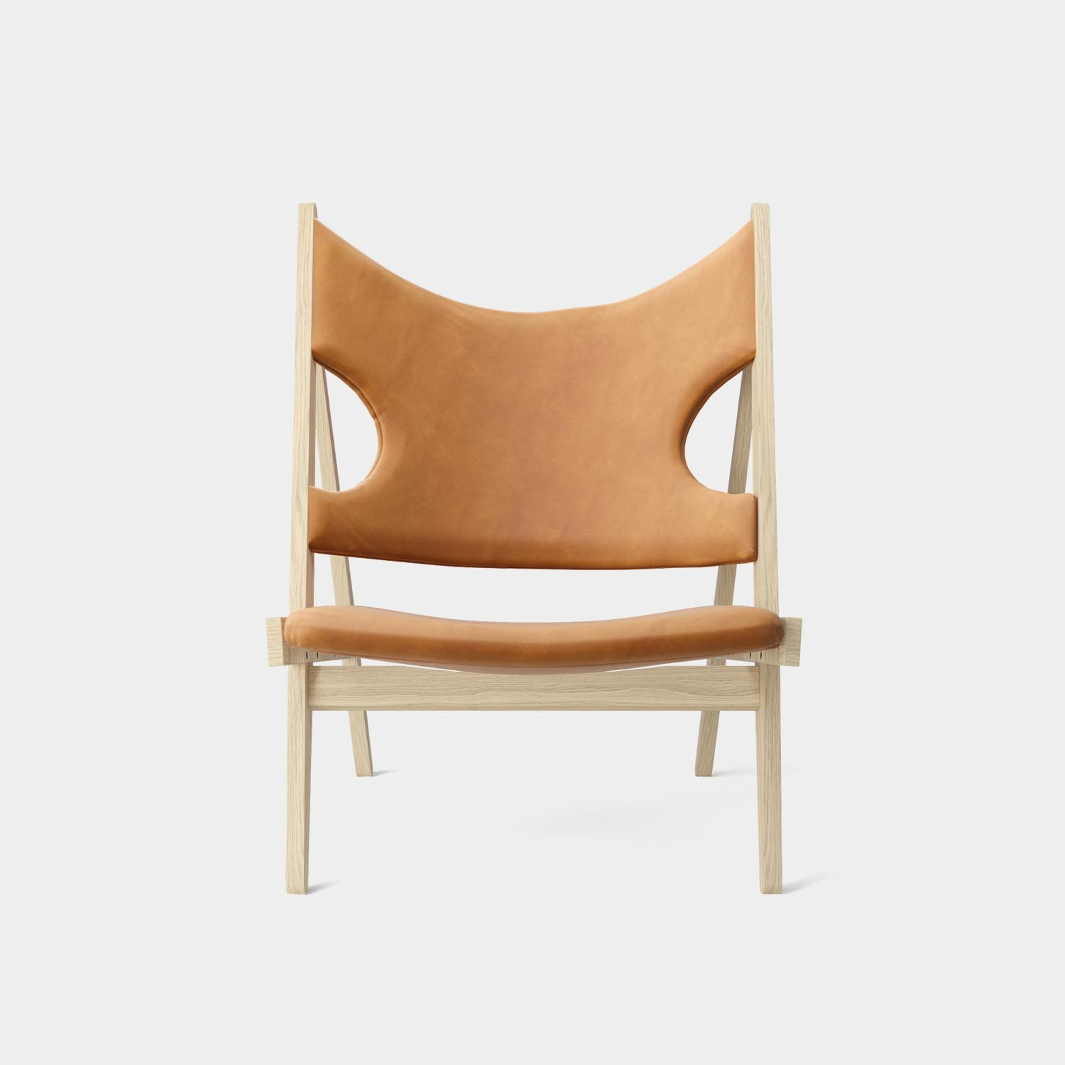 Knitting Lounge Chair, Natural Oak, Dunes Cognac Leather