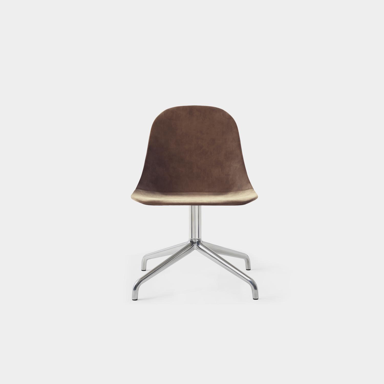 Harbour Side Chair, Aluminum Swivel Base, Gray Velvet Upholstery