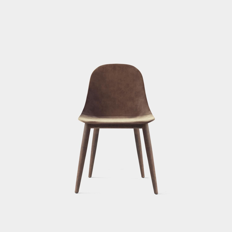 Harbour Side Dining Chair, Dark Oak Legs, Gray Velvet Upholstery