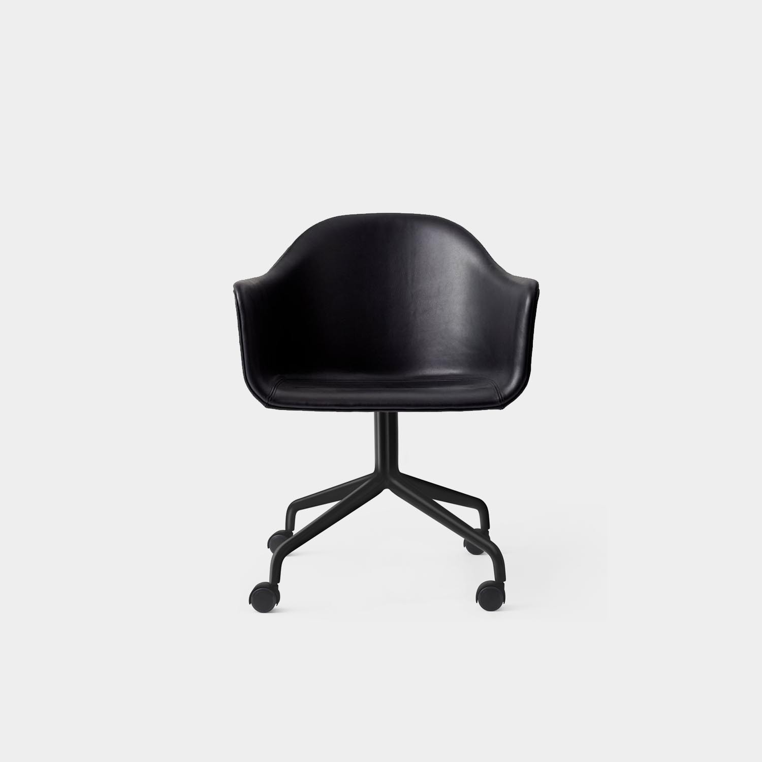 Harbour Chair, Black Swivel Base with Casters, Black Leather