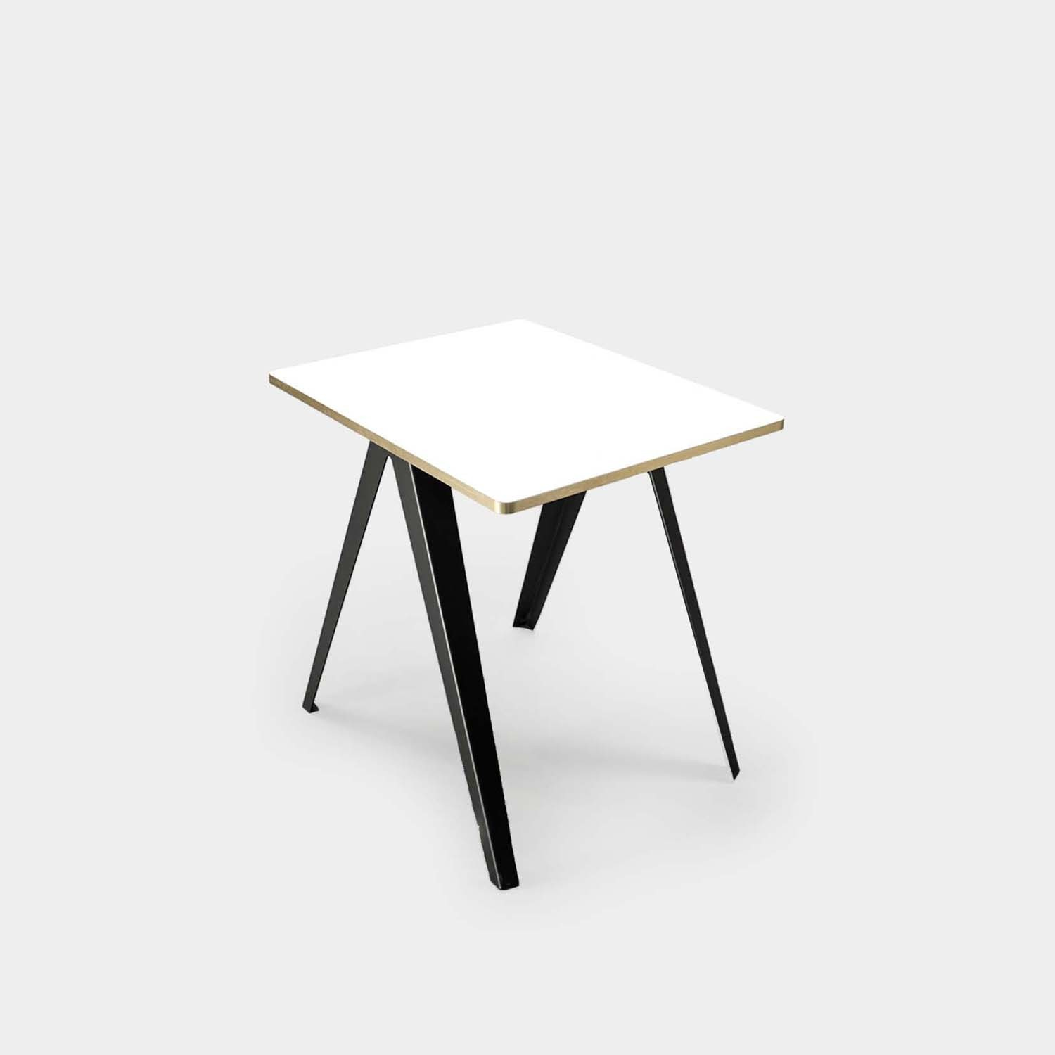 Sanba Table, White/Gold Top, Black Structure