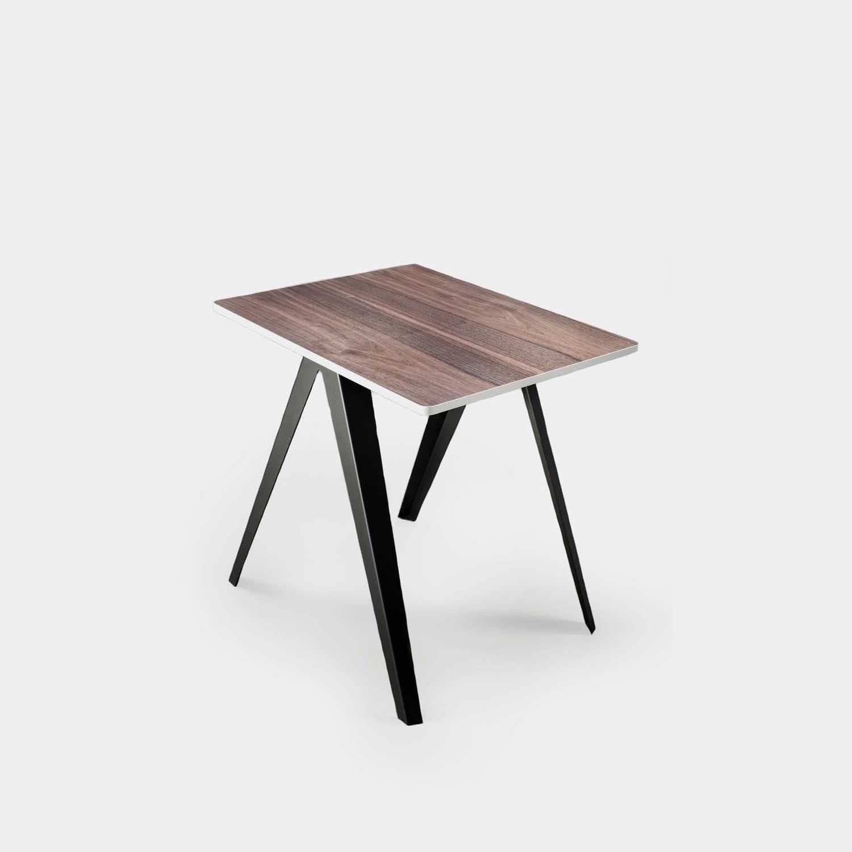 Sanba Table, Walnut/White Top, Black Structure