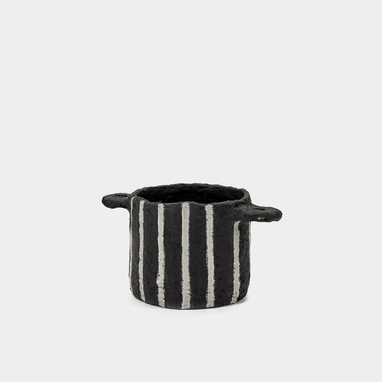 Decorative Paper Mache Pot, Black Vertical Stripes