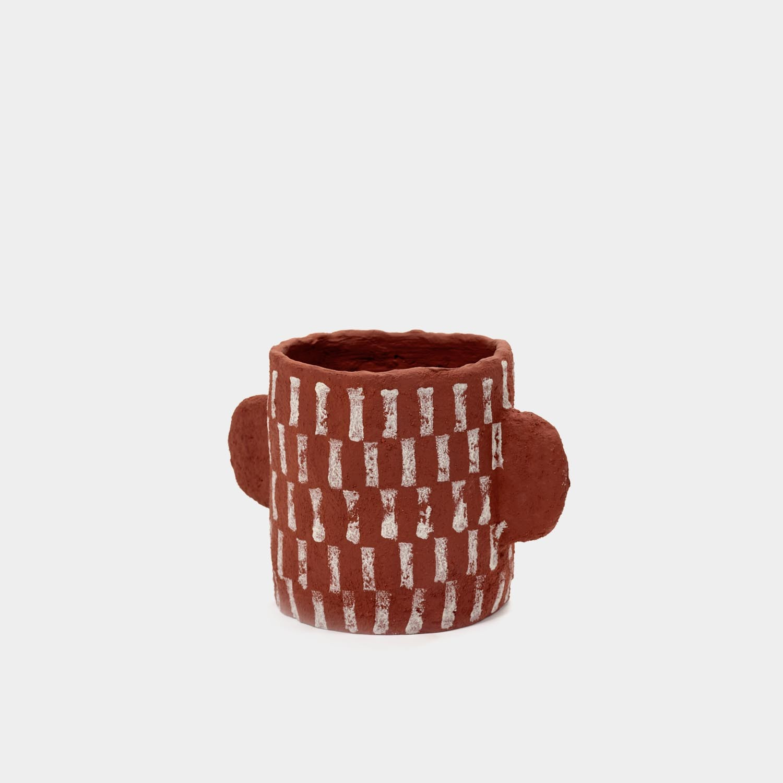 Decorative Paper Mache Pot, Short Red Vertical Stripes