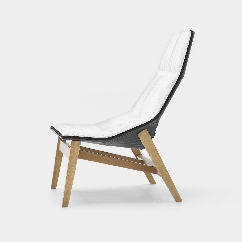 Ace Armchair, Matte Oak Base, White Leather
