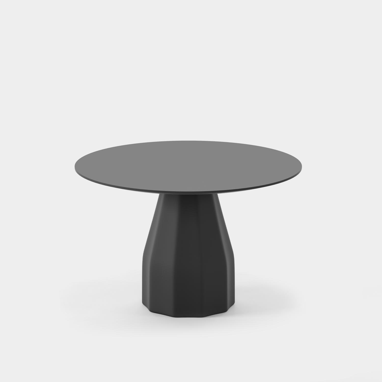 "Burin Table, ⌀47"", Black Base & Top"