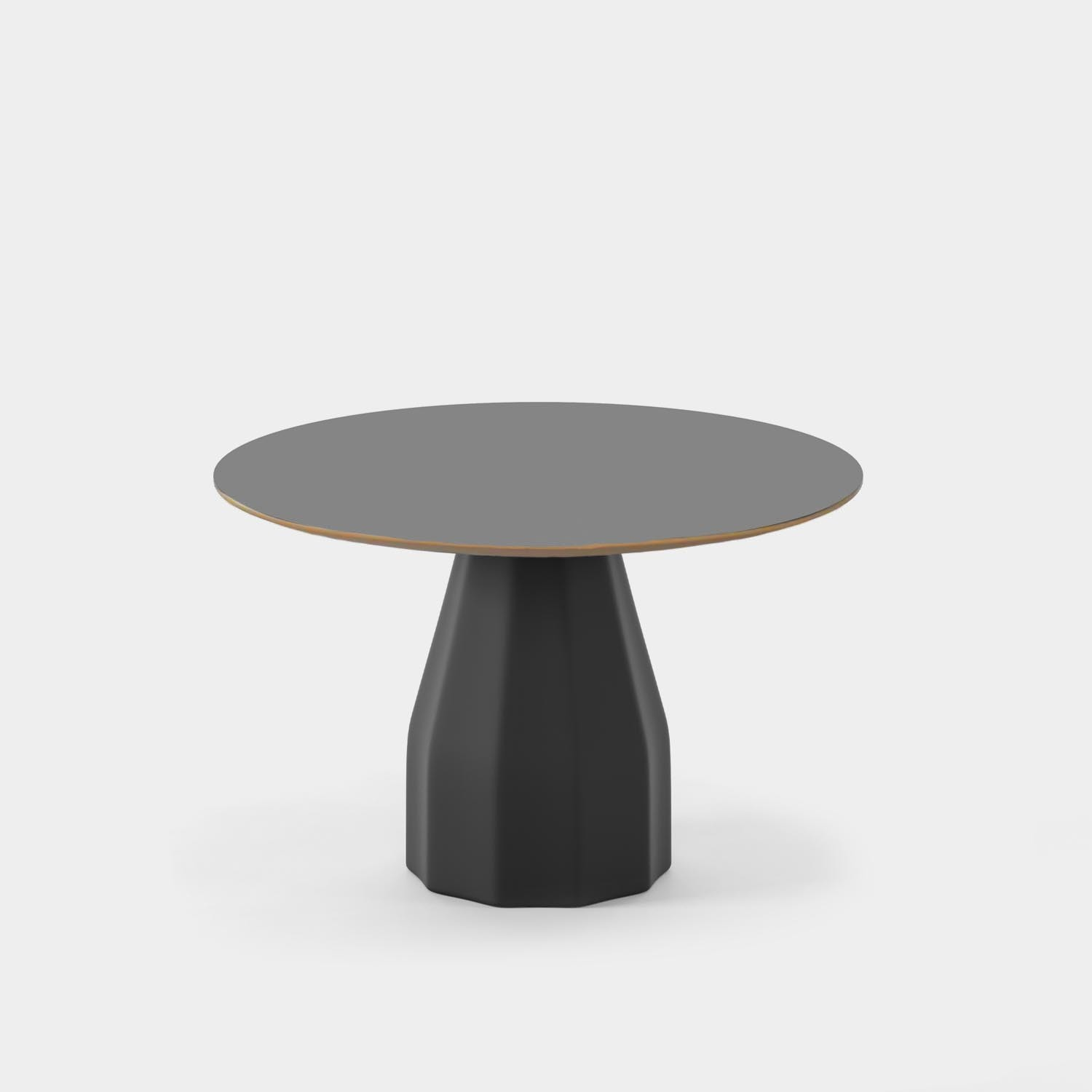 """Burin Table, ⌀47"""", Black Base & Top, MDF with HPL Stained Edge"""