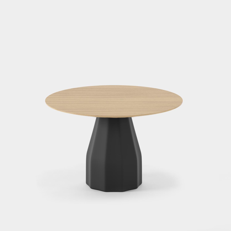 "Burin Table, ⌀47"", Black Base & Matte Oak Top"