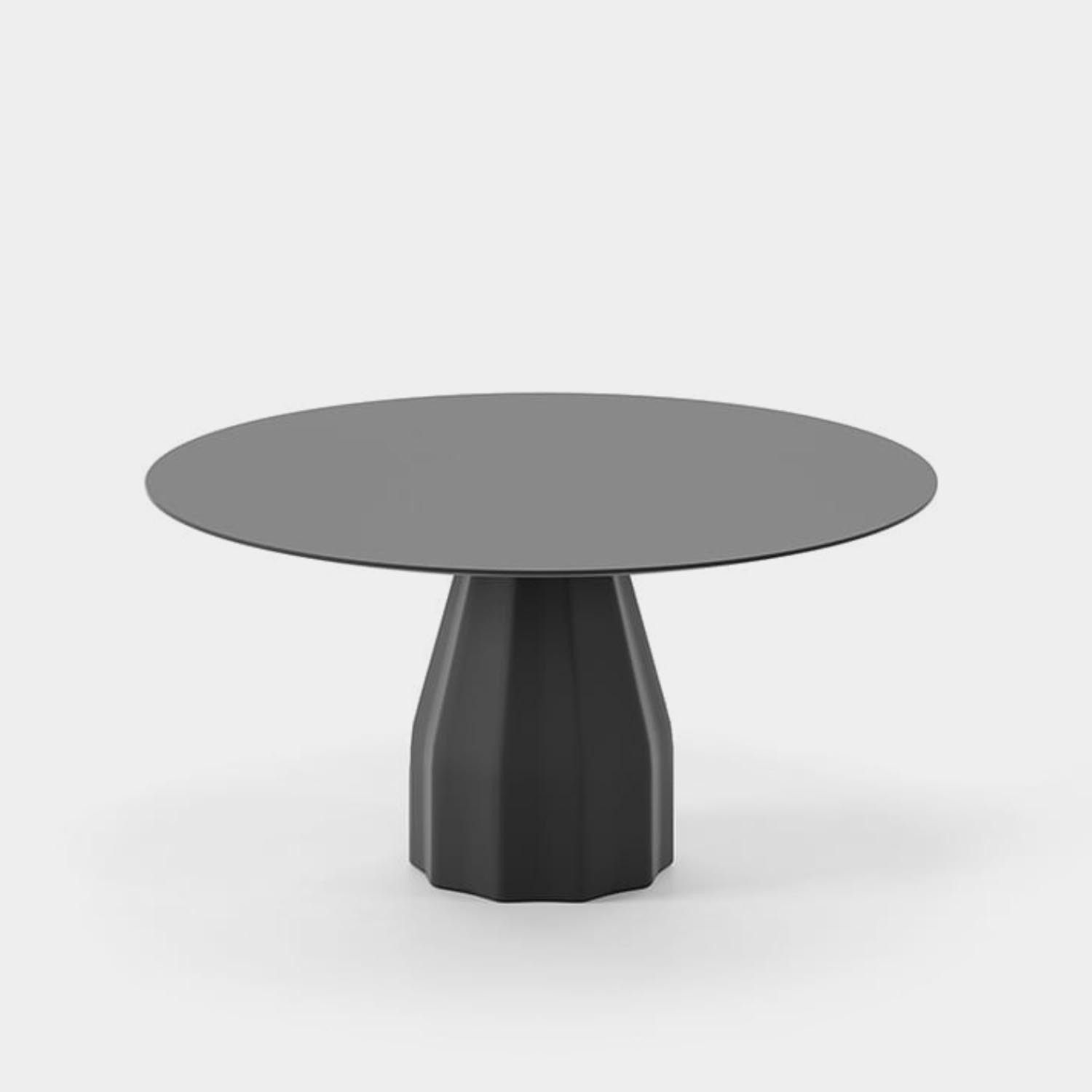 """Burin Table, ⌀59"""", Black Base & Top in Compact Laminate"""