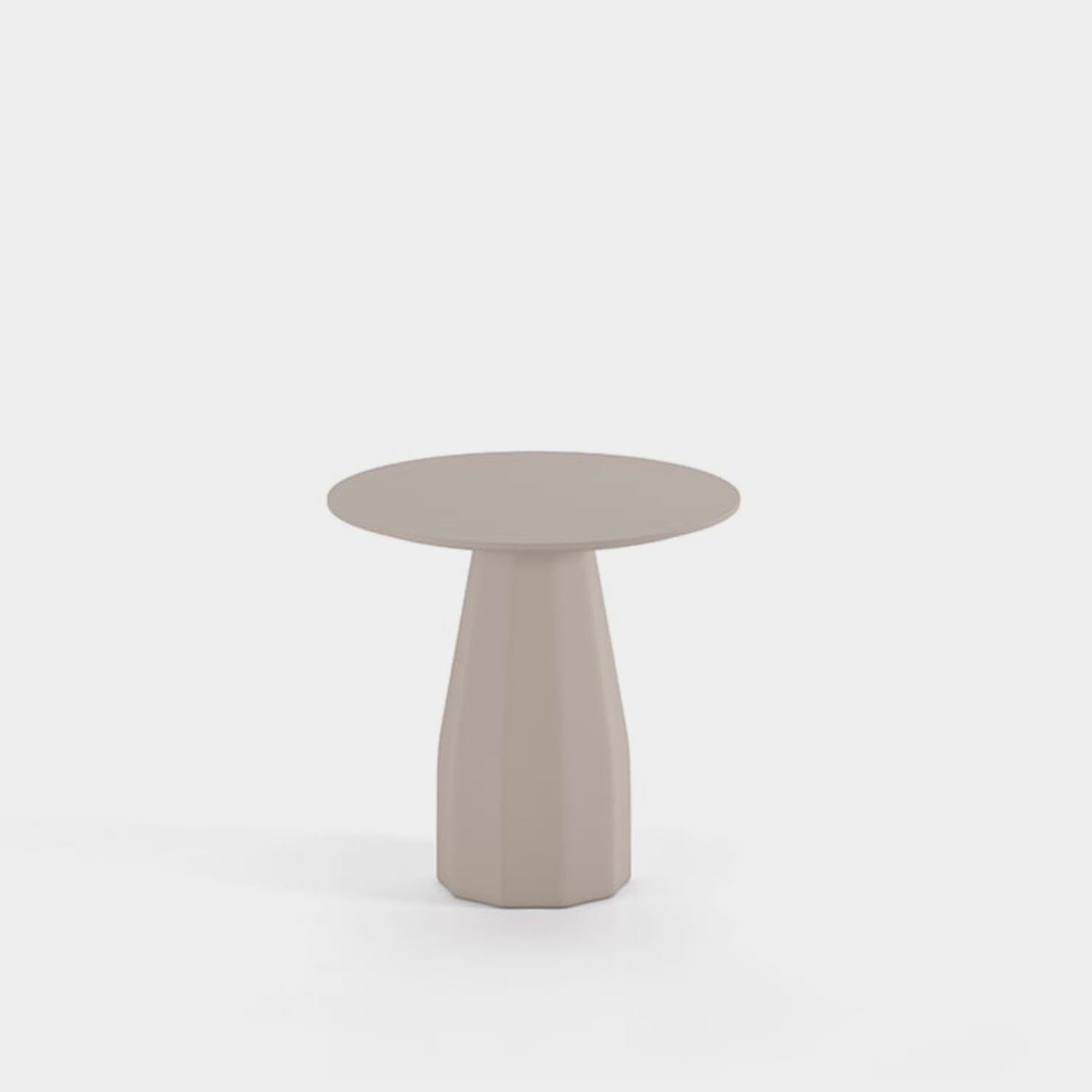 """Burin Table, ⌀31"""", Taupe Base & Top"""