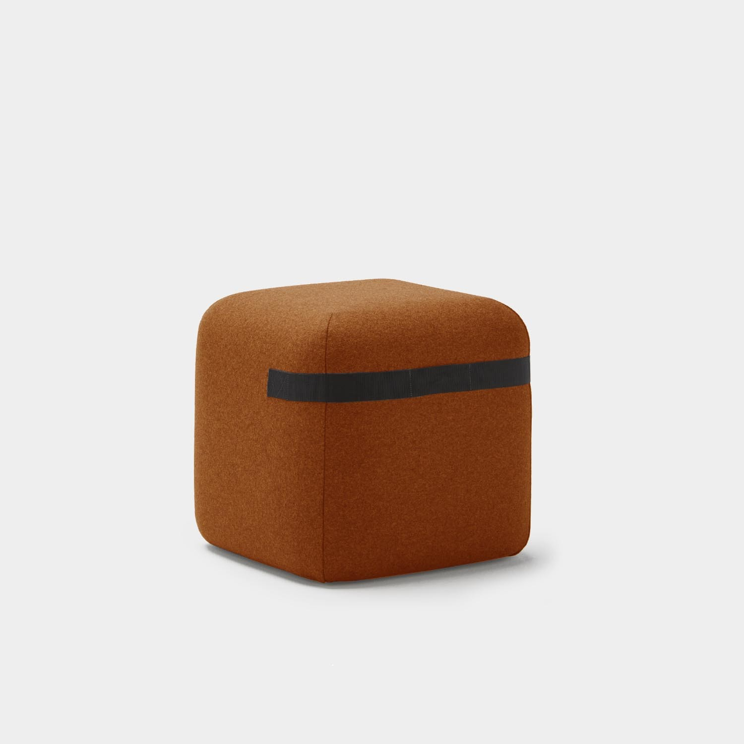 """Season Pouf 19.7"""", with Casters and Black Strap, Brick"""
