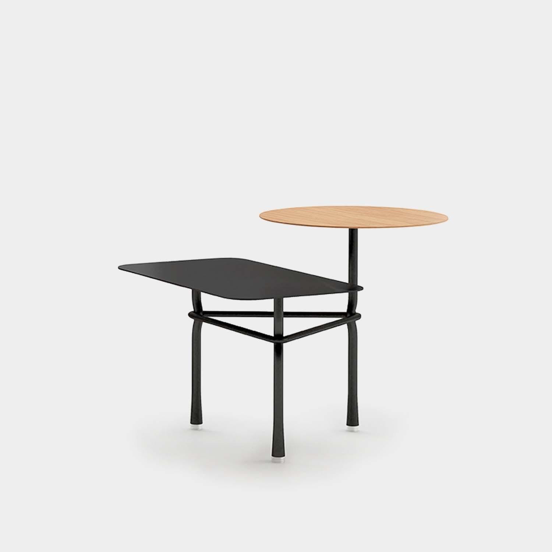 Tiers Low Table, Composition A, Black Base, Black/Oak Veneer