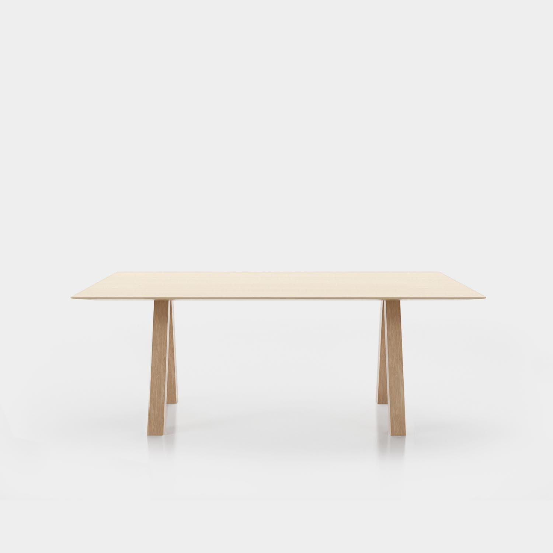 Trestle Table, Matte Oak Veneer