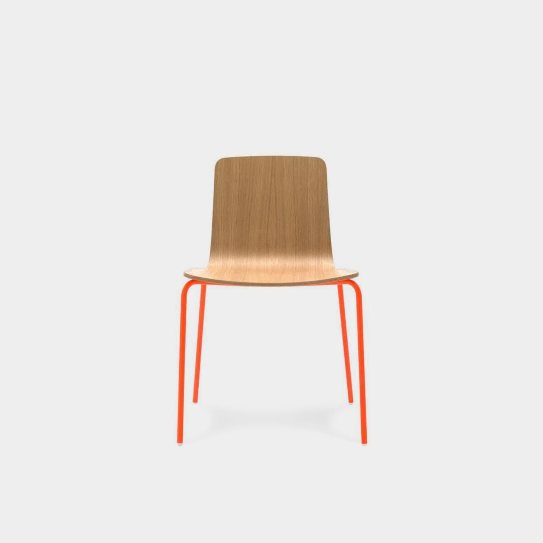 Klip Chair, Natural Oak, Four Legs, Stackable
