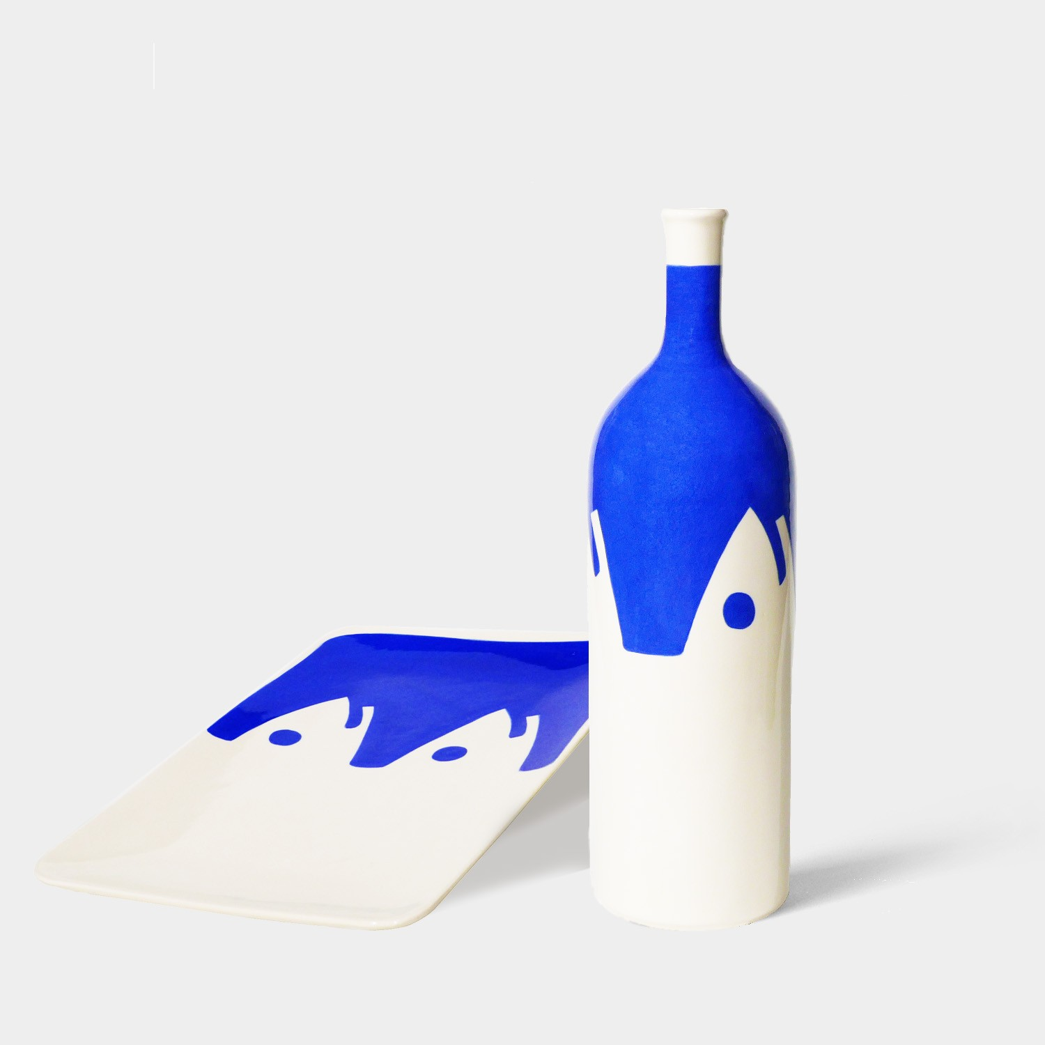 Handmade Ceramic Bottle and Tray, Blue