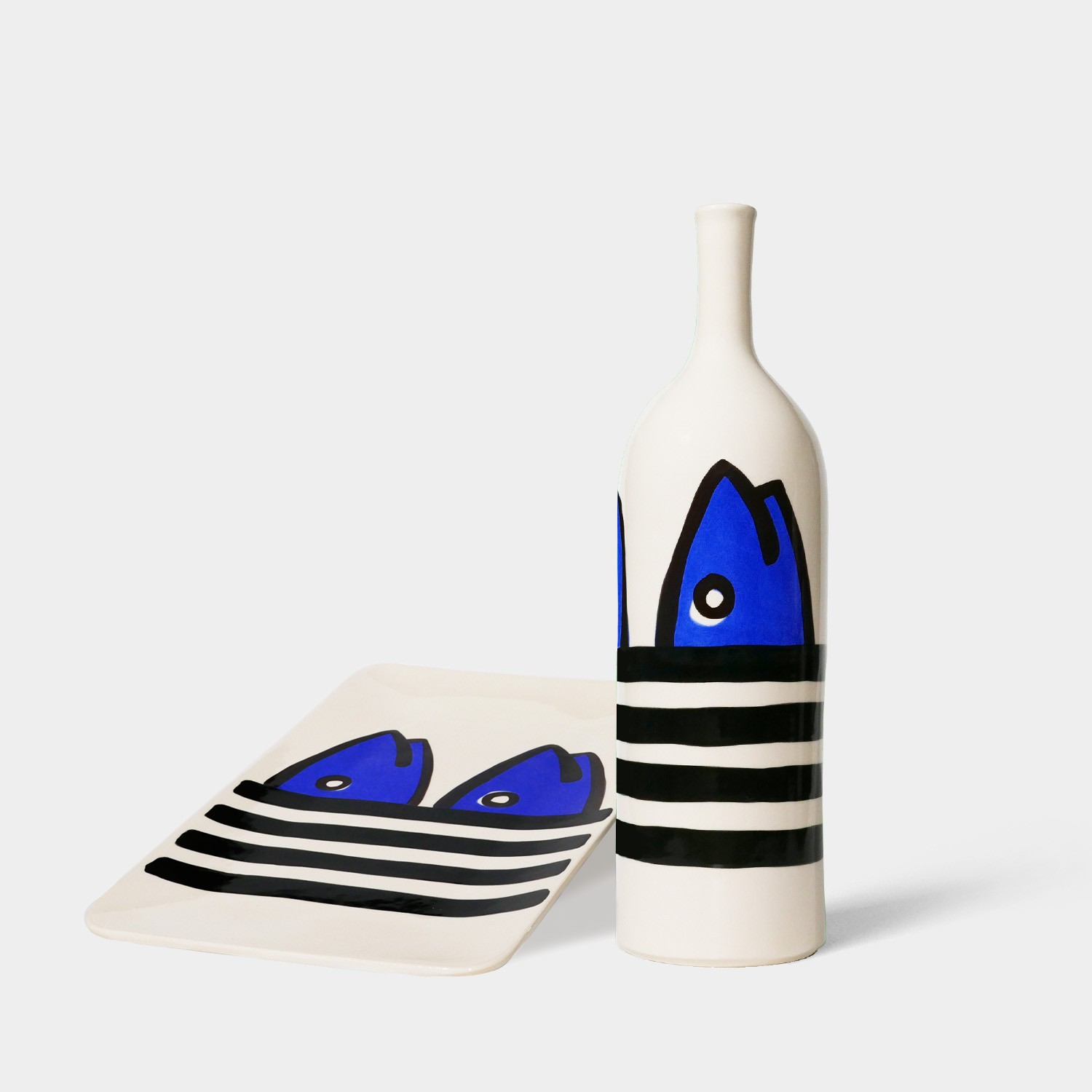 Handmade Ceramic Bottle and Tray, Black & Blue