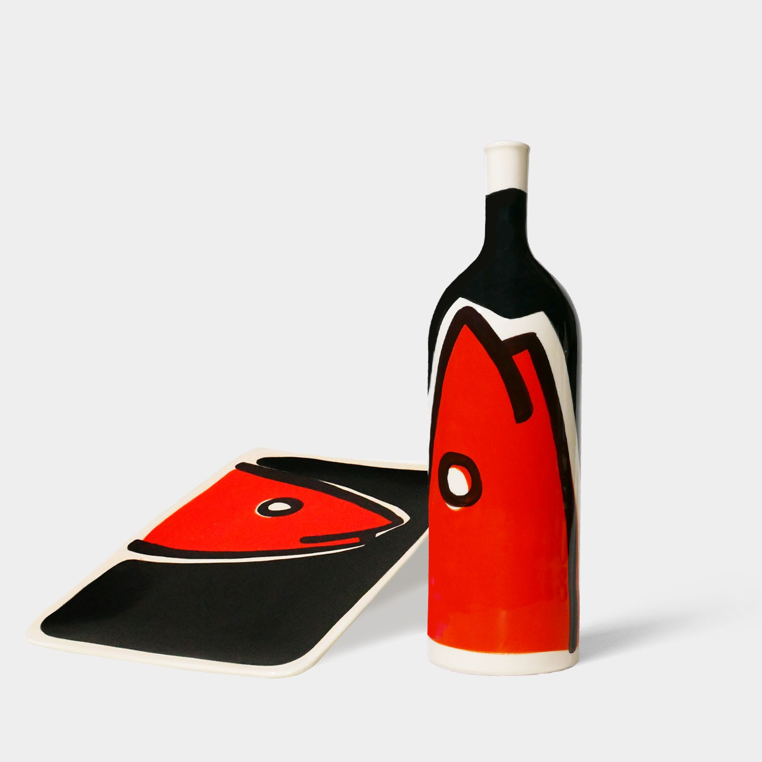 Handmade Ceramic Bottle and Tray, Black