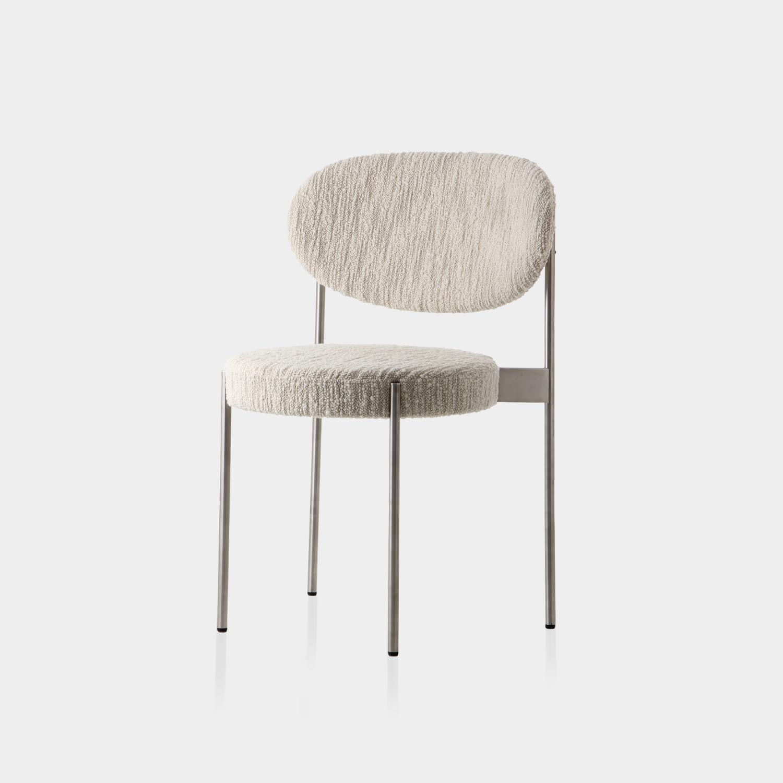 Series 430 Chair, Steel Frame, Dedar Atlas White
