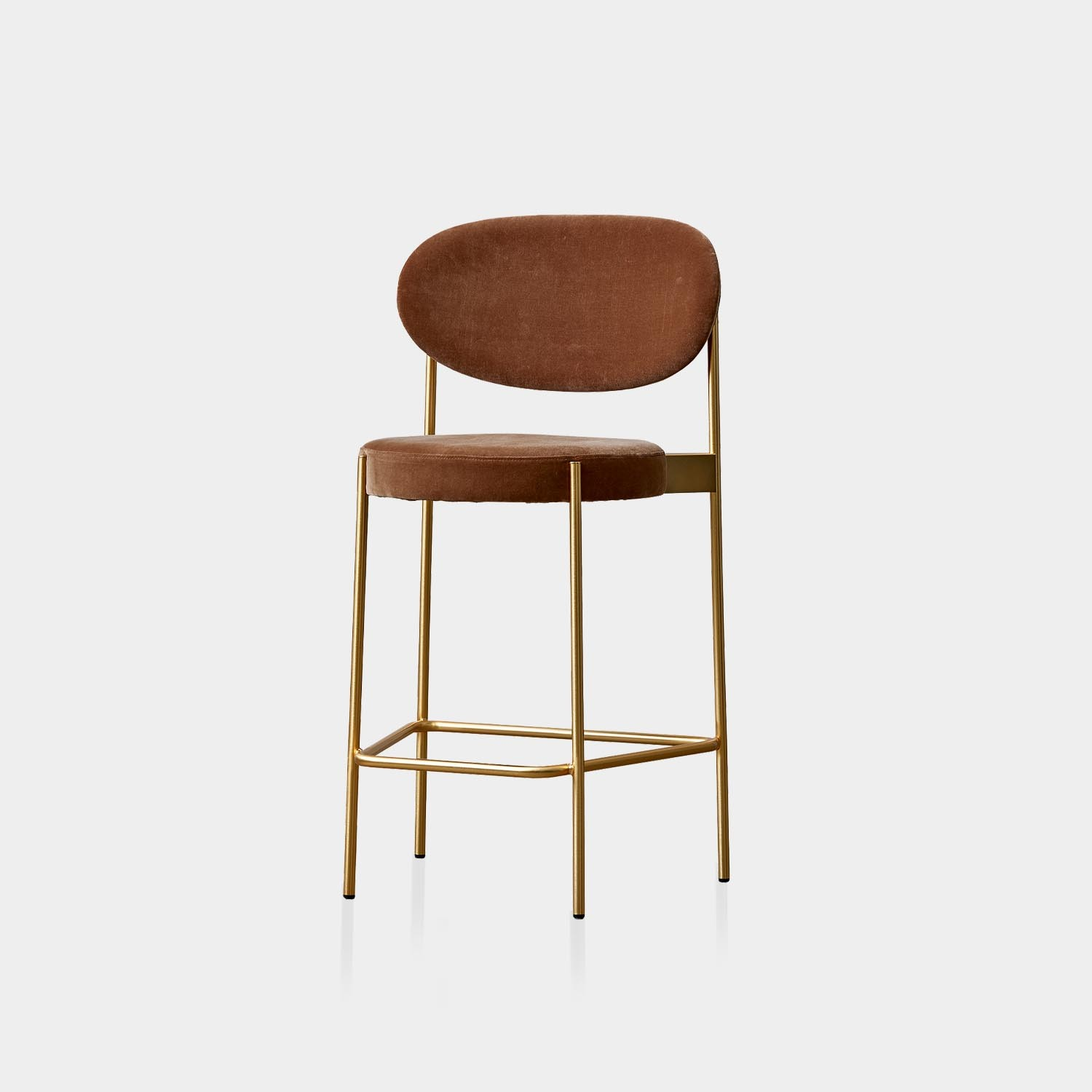 Series 430 Counter Chair, Brass Frame, Harald 3 Velour, Brown