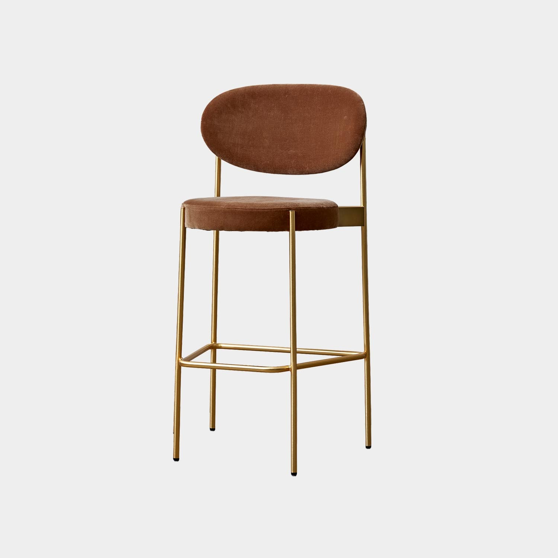 Series 430 Bar Chair, Brass Frame, Harald 3 Velour, Brown