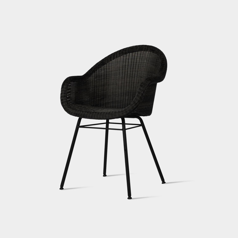 Edgar Dining Chair, Steel Base, Black