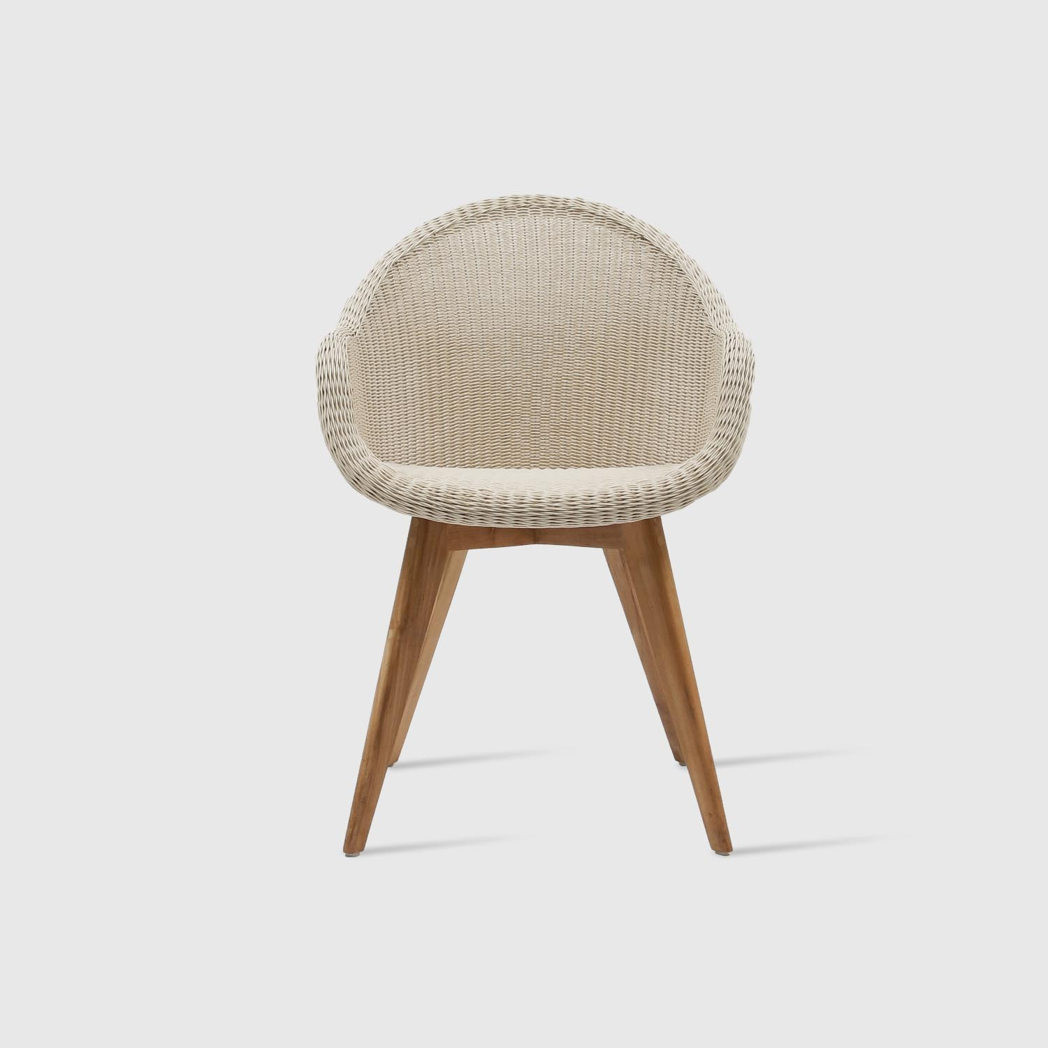 Dining Chair Edgar, Teak Base, Old Lace