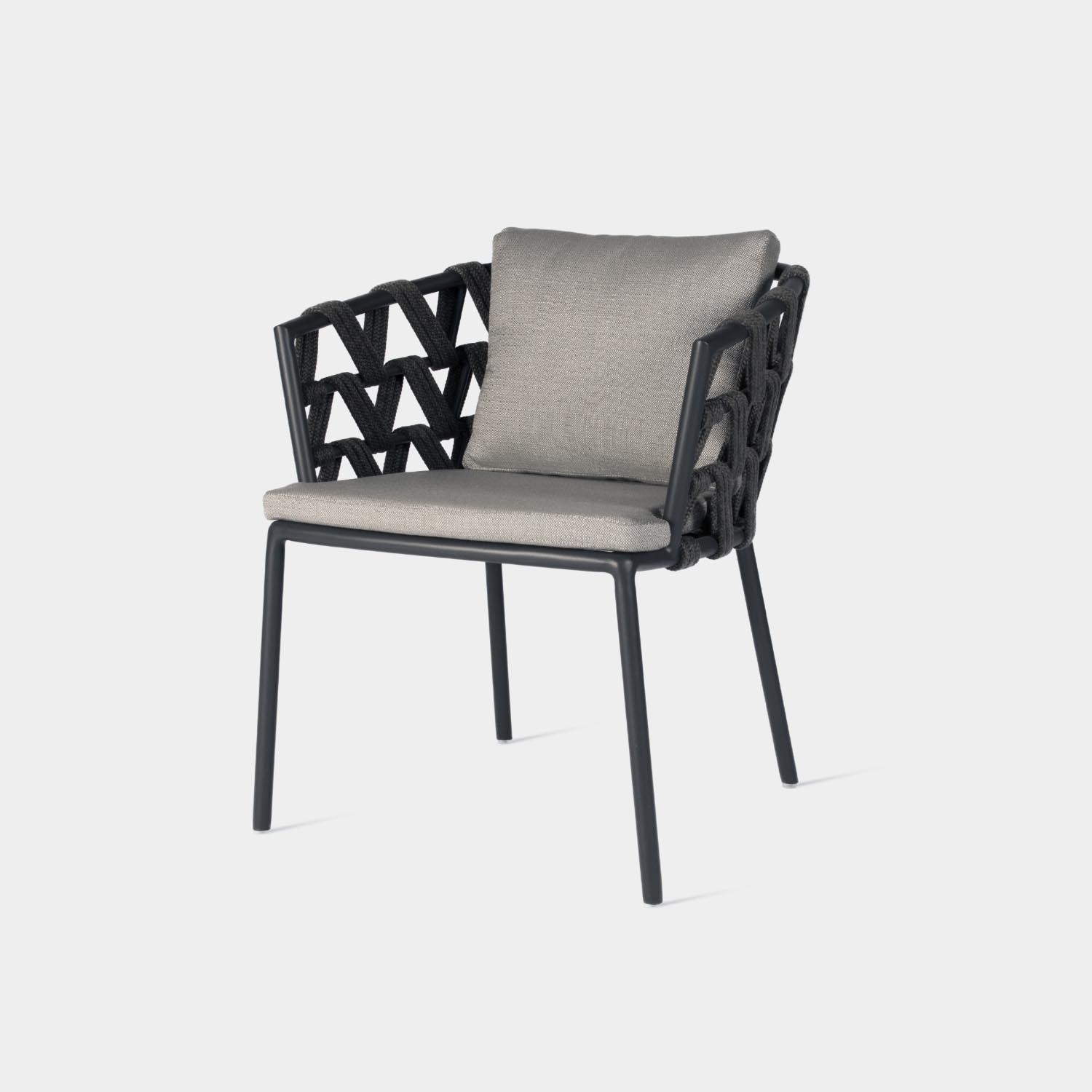 Leo Dining Chair with Back & Seat Zinc Cushions