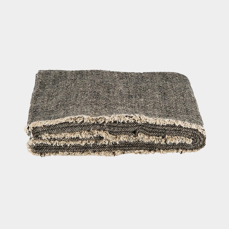 Rustic Linen Blanket Black